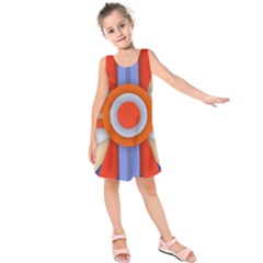 Round Color Copy Kids  Sleeveless Dress