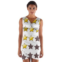 Star Rating Copy Wrap Front Bodycon Dress