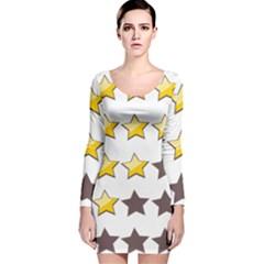 Star Rating Copy Long Sleeve Velvet Bodycon Dress