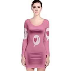 Valentines Pink Day Copy Long Sleeve Bodycon Dress