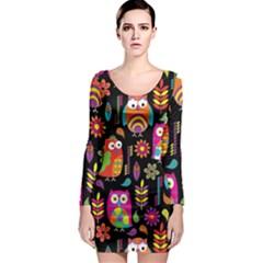 Ultra Soft Owl Long Sleeve Bodycon Dress