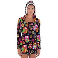 Ultra Soft Owl Women s Long Sleeve Hooded T-shirt