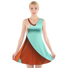 Thumb Lollipop Wallpaper V-Neck Sleeveless Skater Dress