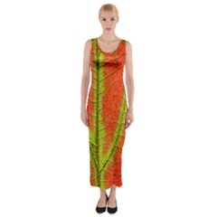 Unique Leaf Fitted Maxi Dress