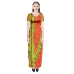 Unique Leaf Short Sleeve Maxi Dress