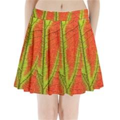 Unique Leaf Pleated Mini Skirt