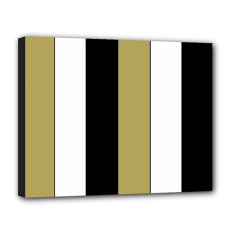Black Brown Gold White Stripes Elegant Festive Stripe Pattern Canvas 14  x 11