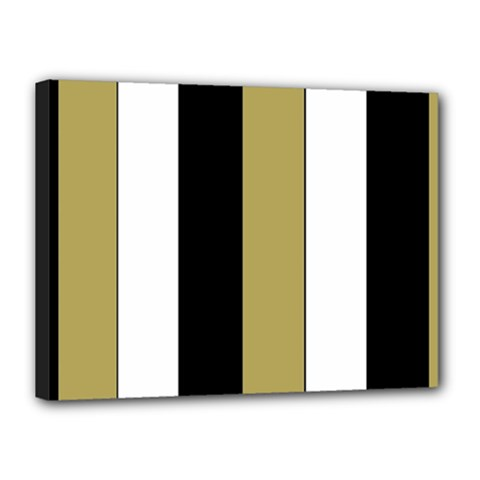 Black Brown Gold White Stripes Elegant Festive Stripe Pattern Canvas 16  x 12