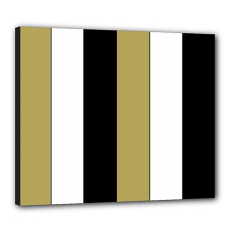 Black Brown Gold White Stripes Elegant Festive Stripe Pattern Canvas 24  x 20