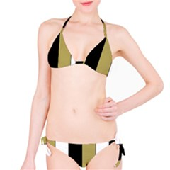 Black Brown Gold White Stripes Elegant Festive Stripe Pattern Bikini Set
