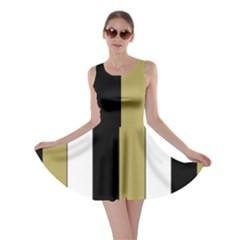 Black Brown Gold White Stripes Elegant Festive Stripe Pattern Skater Dress