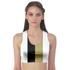 Black Brown Gold White Stripes Elegant Festive Stripe Pattern Sports Bra
