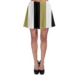 Black Brown Gold White Stripes Elegant Festive Stripe Pattern Skater Skirt