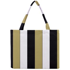 Black Brown Gold White Stripes Elegant Festive Stripe Pattern Mini Tote Bag