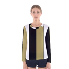 Black Brown Gold White Stripes Elegant Festive Stripe Pattern Women s Long Sleeve Tee