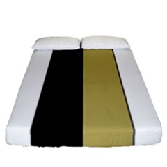Black Brown Gold White Stripes Elegant Festive Stripe Pattern Fitted Sheet (California King Size)
