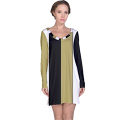 Black Brown Gold White Stripes Elegant Festive Stripe Pattern Long Sleeve Nightdress