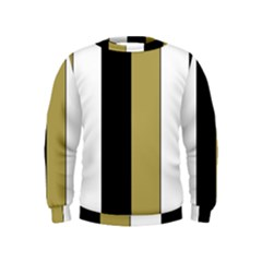 Black Brown Gold White Stripes Elegant Festive Stripe Pattern Kids  Sweatshirt