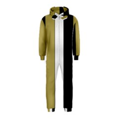 Black Brown Gold White Stripes Elegant Festive Stripe Pattern Hooded Jumpsuit (Kids)