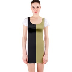 Black Brown Gold White Stripes Elegant Festive Stripe Pattern Short Sleeve Bodycon Dress