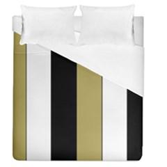 Black Brown Gold White Stripes Elegant Festive Stripe Pattern Duvet Cover (Queen Size)