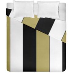 Black Brown Gold White Stripes Elegant Festive Stripe Pattern Duvet Cover Double Side (california King Size)