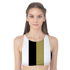 Black Brown Gold White Stripes Elegant Festive Stripe Pattern Tank Bikini Top