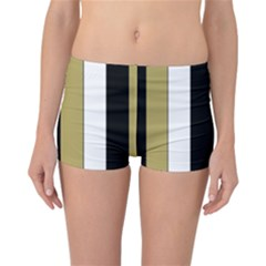 Black Brown Gold White Stripes Elegant Festive Stripe Pattern Reversible Bikini Bottoms