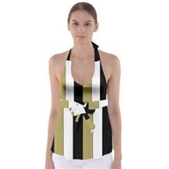 Black Brown Gold White Stripes Elegant Festive Stripe Pattern Babydoll Tankini Top