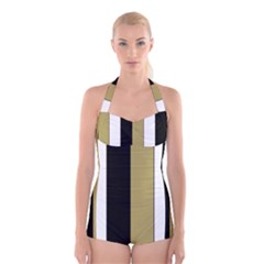 Black Brown Gold White Stripes Elegant Festive Stripe Pattern Boyleg Halter Swimsuit