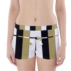 Black Brown Gold White Stripes Elegant Festive Stripe Pattern Boyleg Bikini Wrap Bottoms