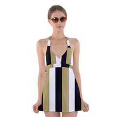 Black Brown Gold White Stripes Elegant Festive Stripe Pattern Halter Swimsuit Dress