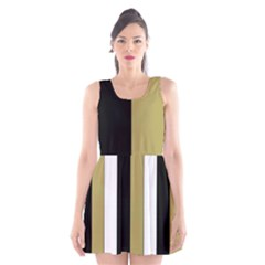 Black Brown Gold White Stripes Elegant Festive Stripe Pattern Scoop Neck Skater Dress