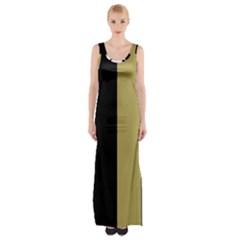 Black Brown Gold White Stripes Elegant Festive Stripe Pattern Maxi Thigh Split Dress