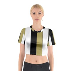 Black Brown Gold White Stripes Elegant Festive Stripe Pattern Cotton Crop Top