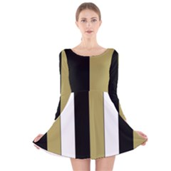 Black Brown Gold White Stripes Elegant Festive Stripe Pattern Long Sleeve Velvet Skater Dress