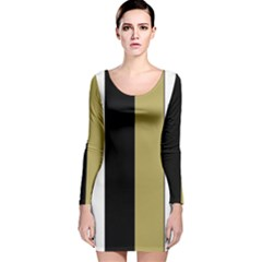 Black Brown Gold White Stripes Elegant Festive Stripe Pattern Long Sleeve Velvet Bodycon Dress