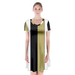 Black Brown Gold White Stripes Elegant Festive Stripe Pattern Short Sleeve V-neck Flare Dress
