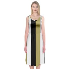 Black Brown Gold White Stripes Elegant Festive Stripe Pattern Midi Sleeveless Dress