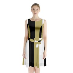 Black Brown Gold White Stripes Elegant Festive Stripe Pattern Sleeveless Chiffon Waist Tie Dress