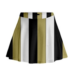 Black Brown Gold White Stripes Elegant Festive Stripe Pattern Mini Flare Skirt