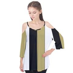 Black Brown Gold White Stripes Elegant Festive Stripe Pattern Flutter Tees