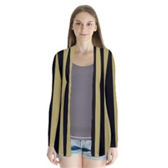 Black Brown Gold White Stripes Elegant Festive Stripe Pattern Cardigans