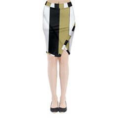 Black Brown Gold White Stripes Elegant Festive Stripe Pattern Midi Wrap Pencil Skirt