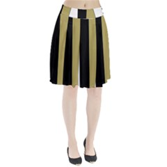 Black Brown Gold White Stripes Elegant Festive Stripe Pattern Pleated Skirt