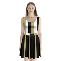 Black Brown Gold White Stripes Elegant Festive Stripe Pattern Split Back Mini Dress