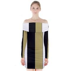 Black Brown Gold White Stripes Elegant Festive Stripe Pattern Long Sleeve Off Shoulder Dress