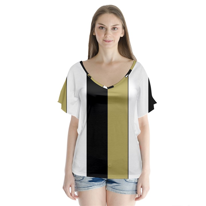 Black Brown Gold White Stripes Elegant Festive Stripe Pattern Flutter Sleeve Top
