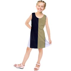 Black Brown Gold White Stripes Elegant Festive Stripe Pattern Kids  Tunic Dress