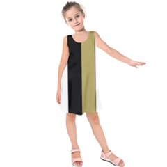 Black Brown Gold White Stripes Elegant Festive Stripe Pattern Kids  Sleeveless Dress